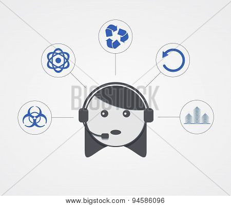 Vector modern support  woman with sample icon on white