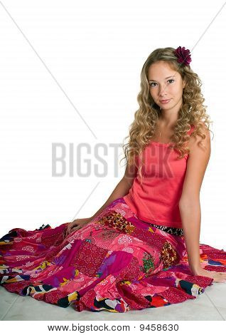 Girl In Pink On Light Background