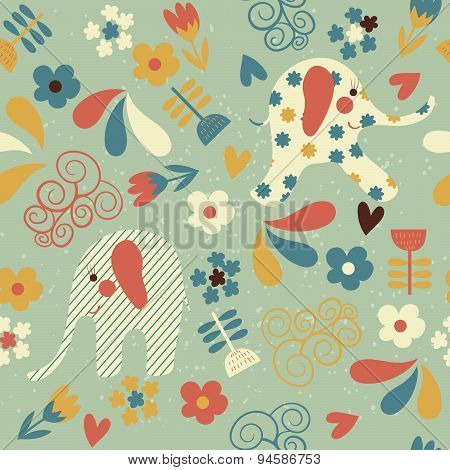 Seamless Pattern With Elephants And Flowers