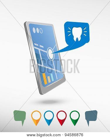 Tooth Icon And Perspective Smartphone Vector Realistic