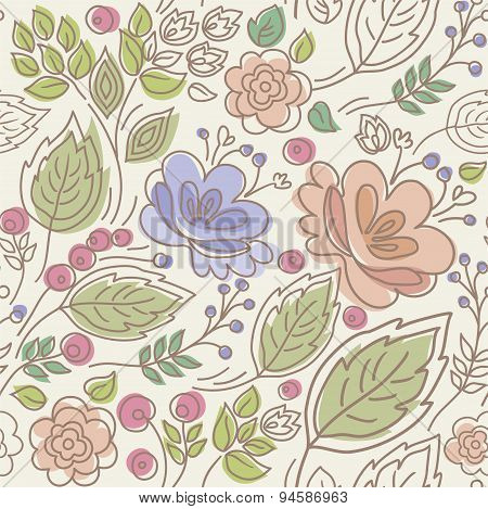 Seamless, Floral Pattern, Col...