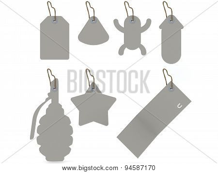 Set Of Tags On A String Isolated