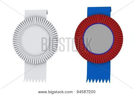 Net Premium Sign Rosette Ribbons White Blue Red Isolated
