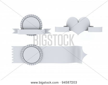Ribbons With Heart Premium With Circle Patterns On White Background
