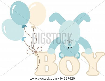 Word boy with baby teddy bear and balloons