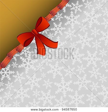 Christmas background with red ribbon