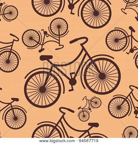 Pattern Of Retro Hipster Styled Bycicle On A Coffee Background