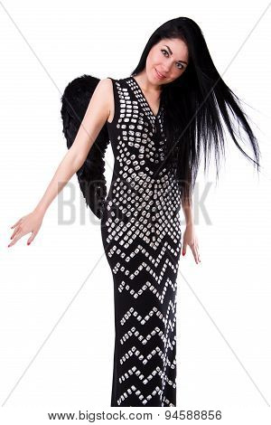 Beautiful Young Woman In A Black Dress With Black Angel Wings