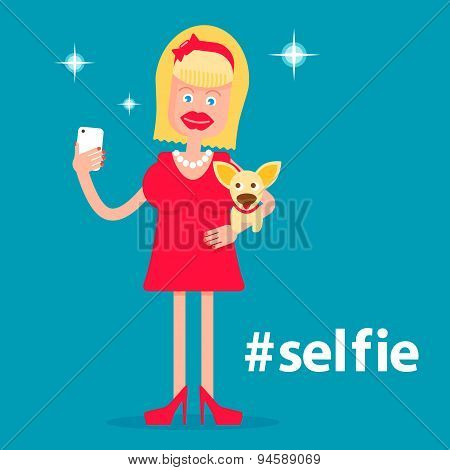 Glamorous Girl With A Dog Making Selfie