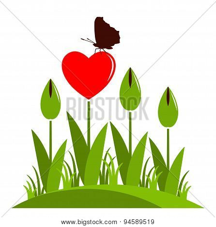 Heart Flowers And Butterfly