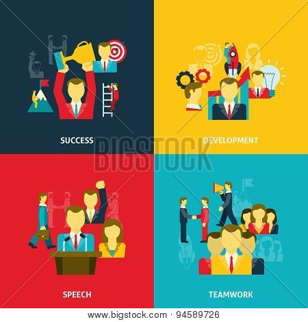 Leadership in business icons set
