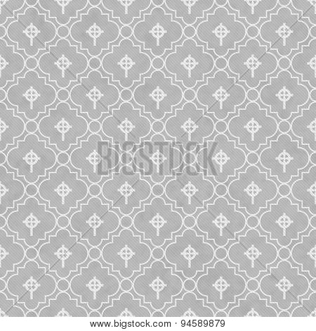 Gray And White Celtic Cross Symbol Tile Pattern Repeat Background