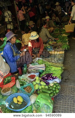 People Sell Vegetables At The Local Market, Siem Reap, Cambodia