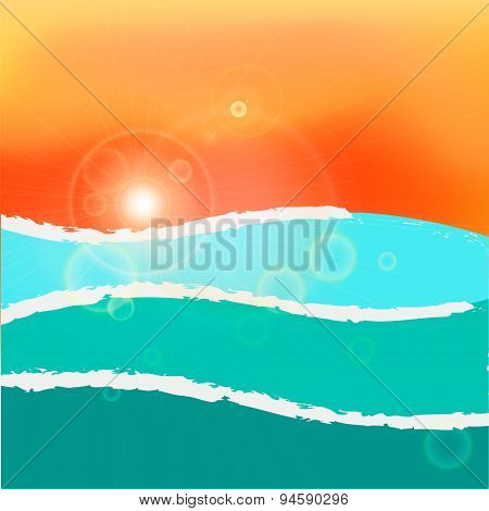 Wavy sea sunset or sunrise. RGB with global colors vector illustration.