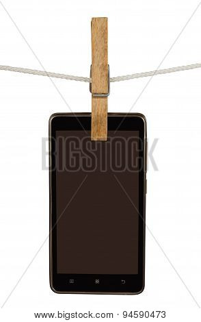 Smartphone On Clothesline