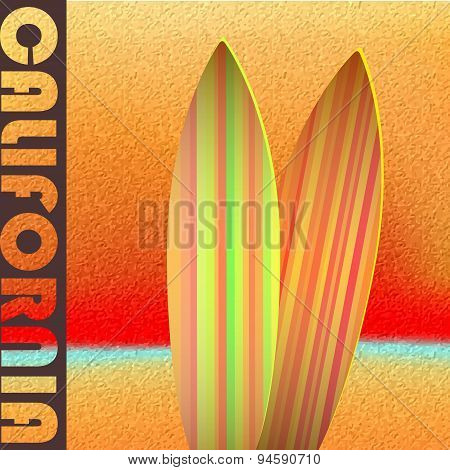 Seascape with surfboards against a bright sunset.