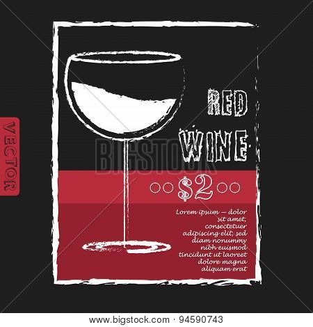 Wine list design layout on chalkboard. Vector illustration