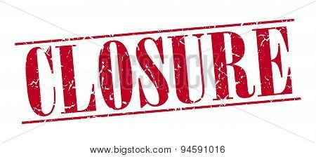 Closure Red Grunge Vintage Stamp Isolated On White Background