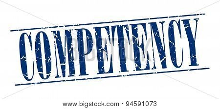 Competency Blue Grunge Vintage Stamp Isolated On White Background