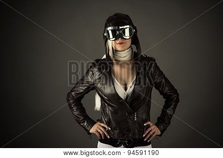 fashion woman in aviator helmet