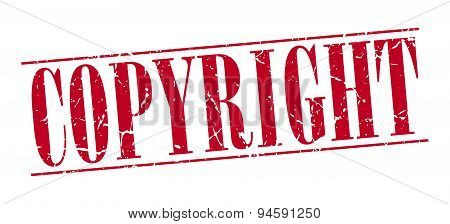 Copyright Red Grunge Vintage Stamp Isolated On White Background