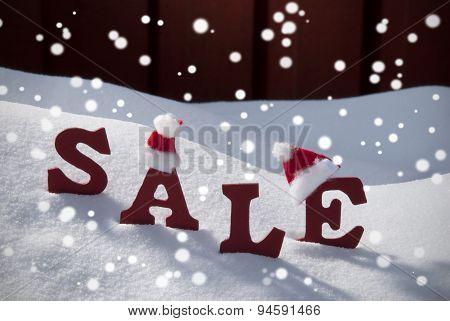 Christmas Sale Snowflakes Santa Hat On Snow