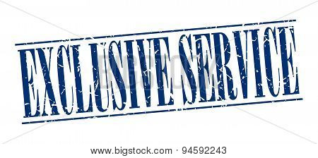 Exclusive Service Blue Grunge Vintage Stamp Isolated On White Background