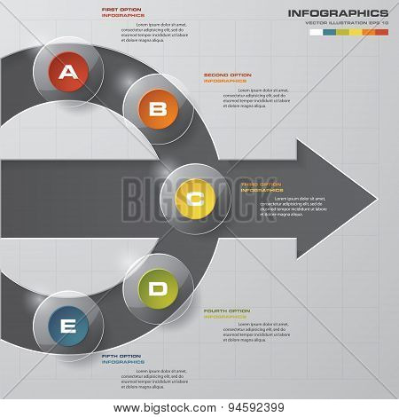 5 steps in the circle shape layout. Design clean template.