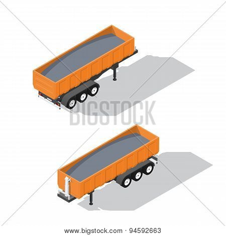 Semitrailer Tipper Detailed Isometric Icon Set