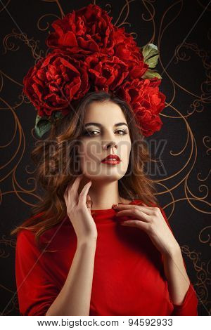 Girl With A Wreath Of Red Flowers