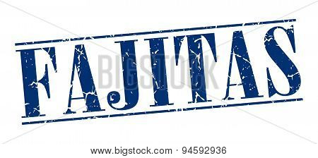 Fajitas Blue Grunge Vintage Stamp Isolated On White Background