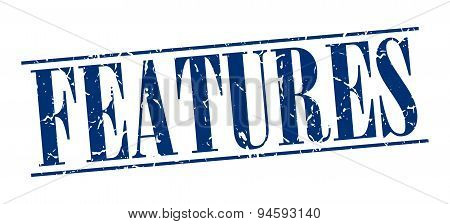 Features Blue Grunge Vintage Stamp Isolated On White Background