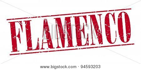 Flamenco Red Grunge Vintage Stamp Isolated On White Background