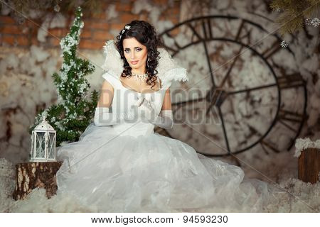 Girl In Snowy Decorations