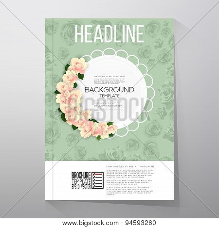 Floral background with place for text and pink flowers over green shabby background. Brochure or fly