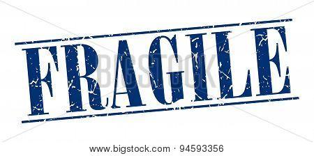 Fragile Blue Grunge Vintage Stamp Isolated On White Background