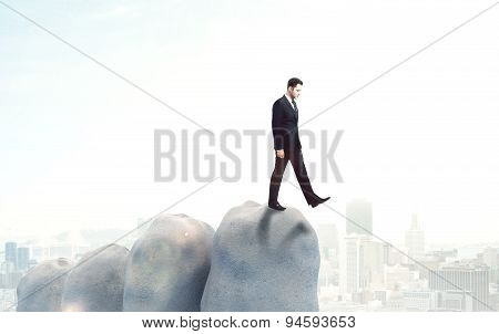 Businessman On Abyss