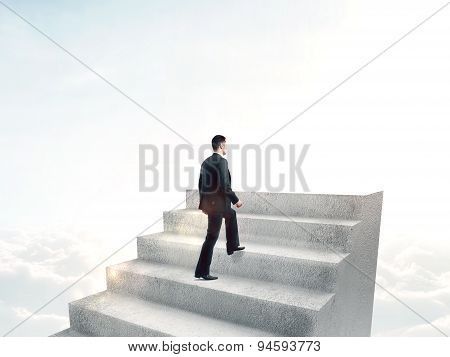 Man Climbing To Stairs