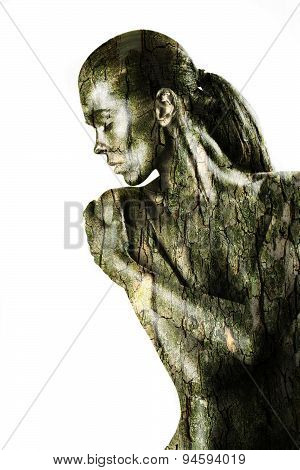 Naked Woman With Bark Texture