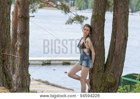 Girl Near Tree On Lake