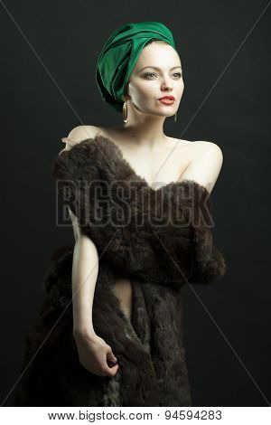 Beautiful Woman In Fur Coat