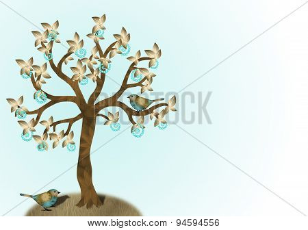 Turquoise and Gold Tree