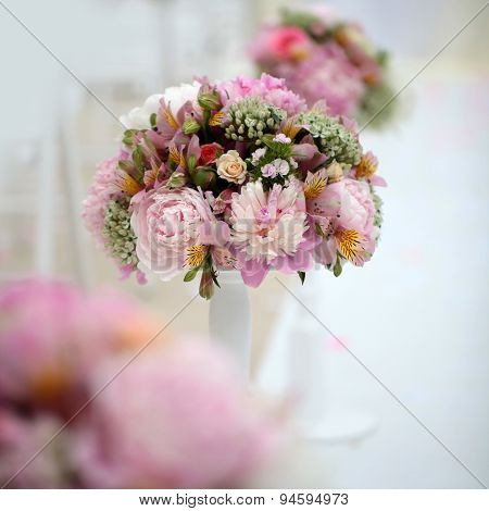 Decorative Bunch Of Peony Flowers