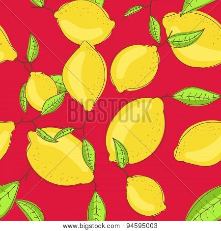 Green lemon fruits with leaf on branch red bright background. Citrus seamless vector pattern.