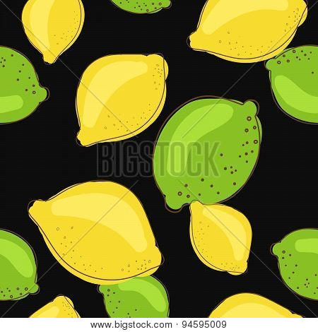 Green lime and lemon fruits on dark black background. Citrus seamless vector pattern.