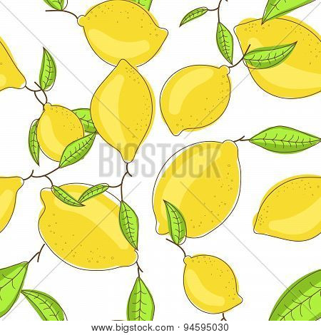 Yellow lemon fruits with leaf on branch white background. Citrus seamless vector pattern.
