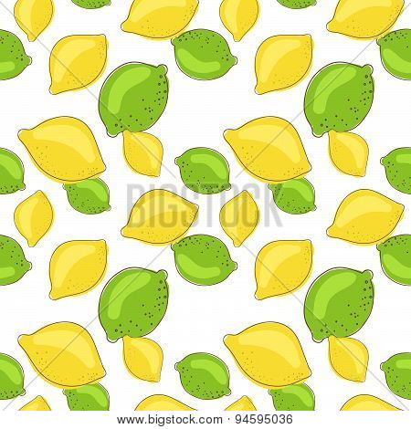 Green lemon and lime fruits on white background. Citrus seamless vector pattern.