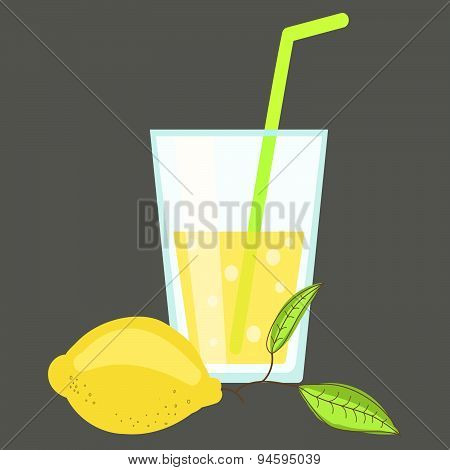 Fresh cold lemonade. Glass of citrus juice. Lemon soda cocktail