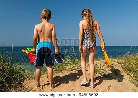 Kids Heading To The Beach