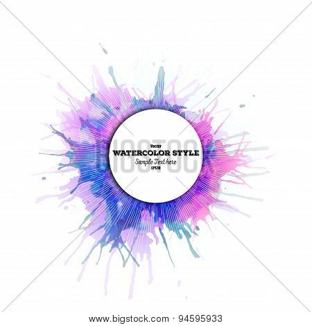 Abstract circle white banner with place for text, watercolor stains and vintage style star burst. Co